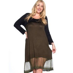 Olive & Black Dress with Lace Bottom Hem
